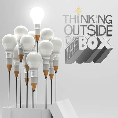 pencil light bulb in open box 3d and design word THINKING OUTSIDE OF THE BOX as concept photo