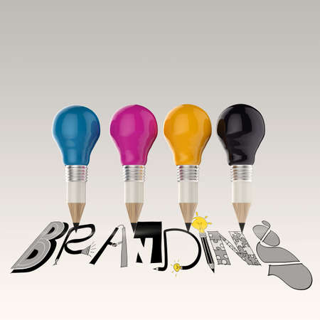 hand drawn graphic word cmyk and 3d cmyk pencil light bulb as concept photo