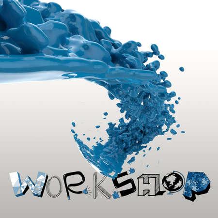 3D paint color splash with design word WORKSHOP as concept photo