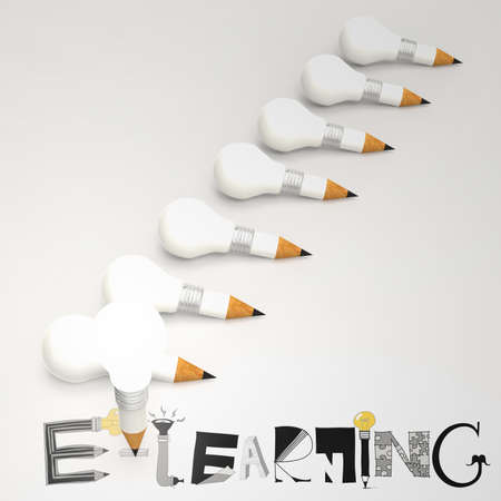 design graphic hand drawn E-LEARNING word and pencil lightbulb 3d as concept photo