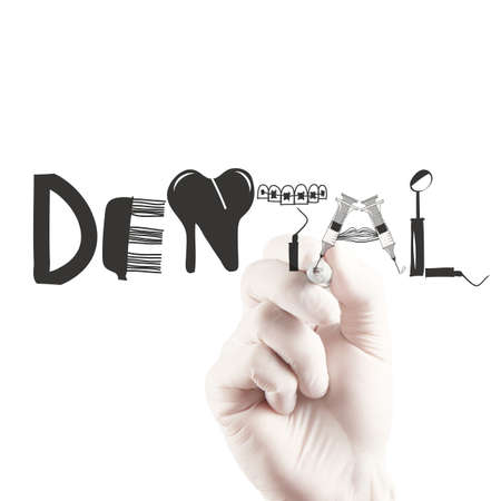 dermatologist: doctor hand drawing design word DENTAL as concept