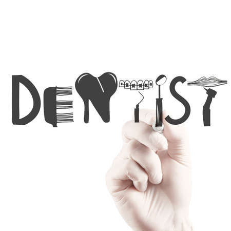dentist icon: doctor hand drawing design word DENTIST as concept