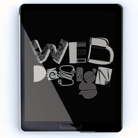 hand drawn web deign on screen tablet computer as concept photo