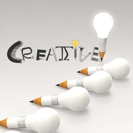 pencil lightbulb 3d and design word CREATIVE as concept photo