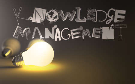insights: creative design hand drawn KNOWLEDGE MANEGEMENT word and light bulb 3d as concept