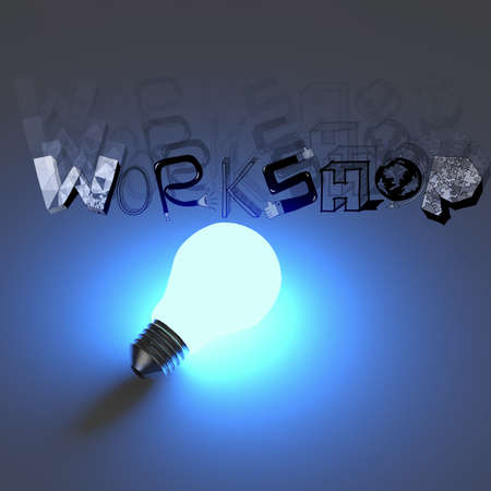 3d light bulb growing design word WORKSHOP as concept photo