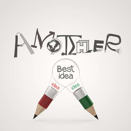 pencil light bulb 3d hand drawn graphic design ANOTHER BEST IDEA word as concept photo