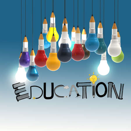 prodigy: pencil lightbulb 3d and design word EDUCATION as concept