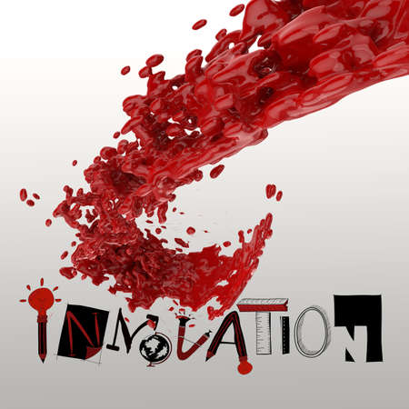 3D paint color splash with design word INNOVATION as concept photo