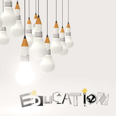Prodigy: ołówek i projektowanie 3d żarówka EDUKACJA jako wyraz koncepcji