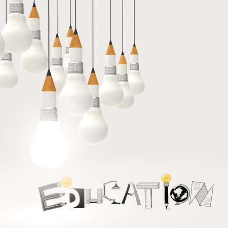 open mind: pencil lightbulb 3d and design word EDUCATION as concept