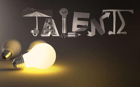 3d light bulb growing  design word Talent as concept Stock Photo