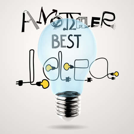 light bulb 3d hand drawn graphic design ANOTHER BEST IDEA word as concept photo