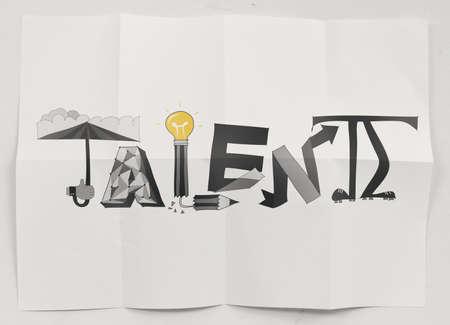 手が概念として紙を丸めて背景にデザインの単語の才能を描画