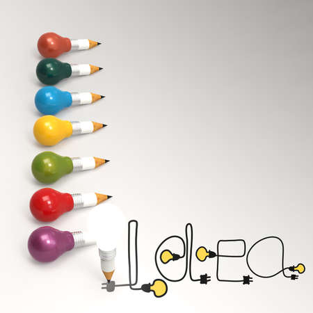 skulp: pencil lightbulb 3d and design word idea as concept  Stock Photo