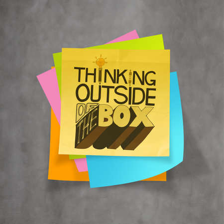 hand drawn THINKING OUTSIDE OF THE BOX on sticky note and texture background as concept photo