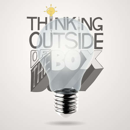 lightbulb 3d and design word THINKING OUTSIDE OF THE BOX as concept photo