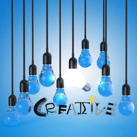 Prodigy: żarówka i projektowanie 3d w koncepcji słowo CREATIVE Zdjęcie Seryjne