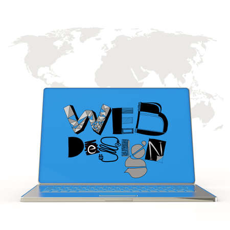 hand drawn web design on laptop screen computer and world map background as concept photo