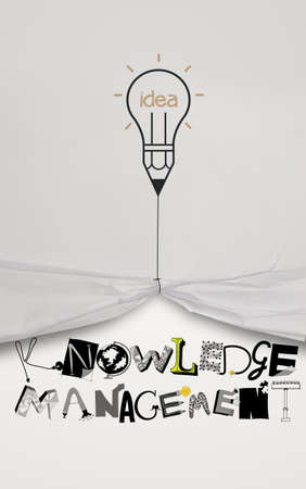 insights: pencil lightbulb idea draw rope open wrinkled paper show graphic design word KNOWLEDGE MANEGEMENT as concept