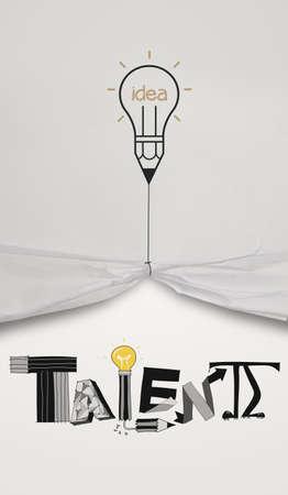 wrinkled paper: potlood gloeilamp gelijkspel touw openen gekreukeld papier toont grafisch ontwerp woord TALENT als concept