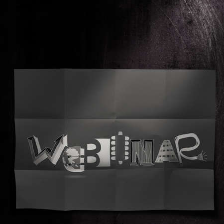 design word WEBINAR on dark crumpled paper and texture background as concept photo