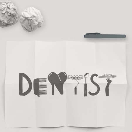 oral cavity: design word DENTIST on white crumpled paper and texture background as concept