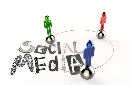 hand drawn graphic word SOCIAL MEDIA and 3d human link sign as concept photo