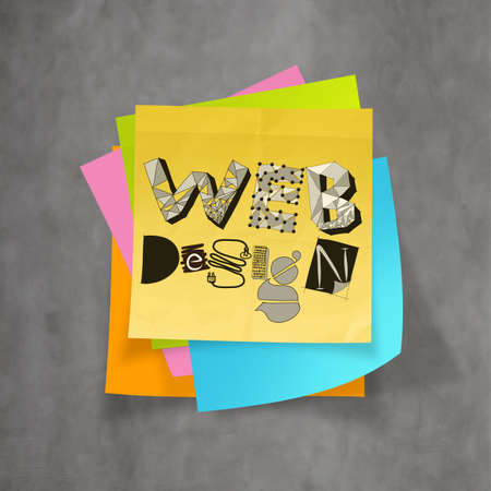 distributed: hand drawn WEB DESIGN on sticky note and texture  background as concept