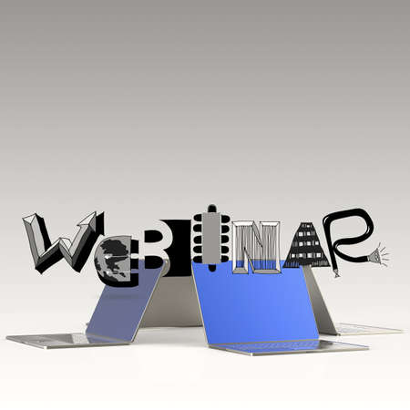 design word WEBINAR and laptop 3d computer as concept photo