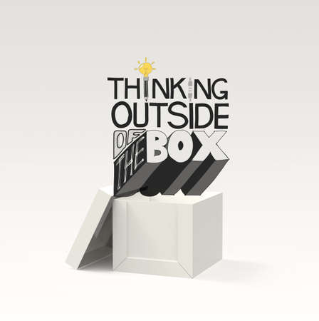pencil box: open box 3d and design word THINKING OUTSIDE OF THE BOX as concept