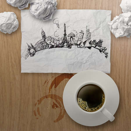 3d cup of coffee traveling around the world on crumpled paper and wooden background as vintage style concept  photo