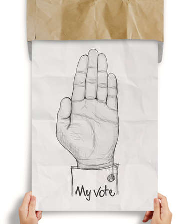 businessman show crumpled paper of  Hand raised with MY VOTE text as concept photo