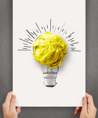 hand drawn light bulb with crumpled paper ball on paper poster as creative concept photo