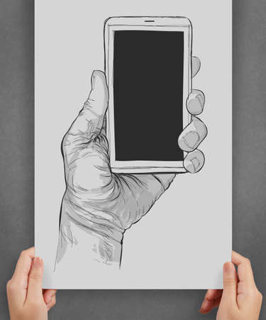 showing Hand drawn hands with mobile phone on poster as concept photo