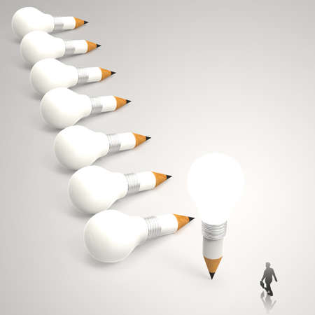 businessman looking at 3d pencil and light bulb concept creative and leadership as concept  photo