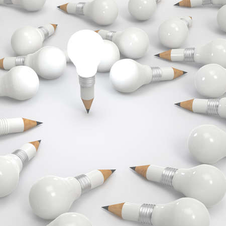 drawing idea pencil and light bulb concept creative and leadership concept with copy space photo