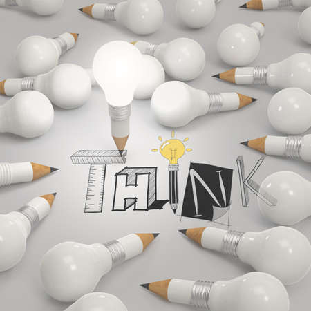 prodigy: pencil lightbulb 3d and design word THINK as concept