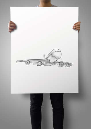 turbulence: man showing poster of Airplane hand drawn as concept