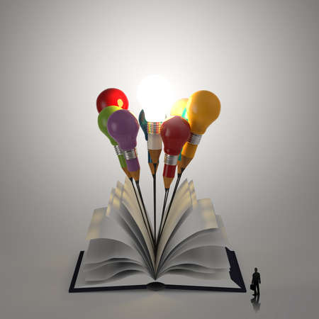 open book with pencil lightbulb 3d and business man as concept  photo