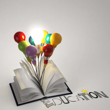 thumbnail: open book with pencil lightbulb 3d and design word EDUCATION as concept  Stock Photo
