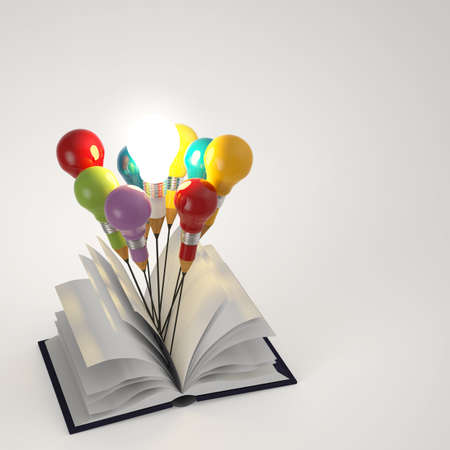 open book with pencil lightbulb 3d as concept  photo