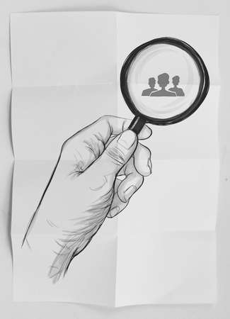 drawing of hand holding magnifier glass looking for employee on crumpled paper as concept Stock Photo