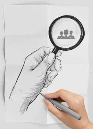 drawing of hand holding magnifier glass looking for employee on crumpled paper as concept photo