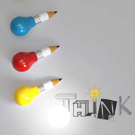 pencil lightbulb 3d and design word THINK as concept photo