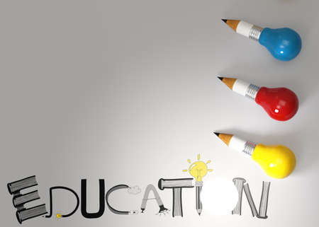 pencil lightbulb 3d and design word EDUCATION as concept  photo