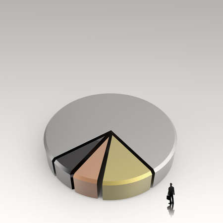 conept: businessman walking to 3d Pie chart, made of different colors as conept