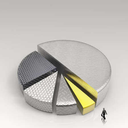 conept: businessman walking to 3d Pie chart, made of different metals as conept