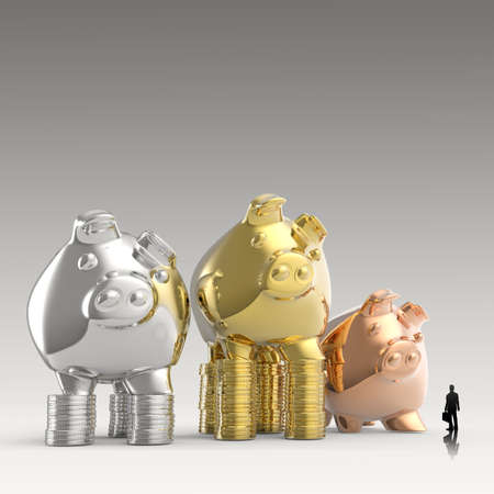 businessman looking at 3d piggy bank standing on coins as concept  photo