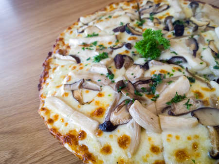 Pizza mushroom and cheese on a wooden board photo